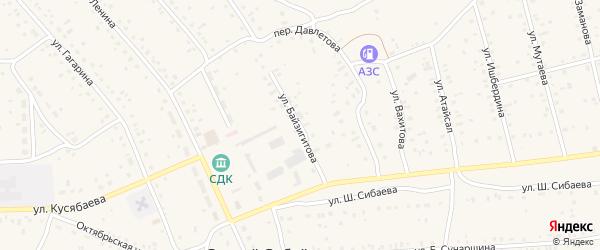 Улица К.Байзигитова на карте села Старого Сибая Башкортостана с номерами домов