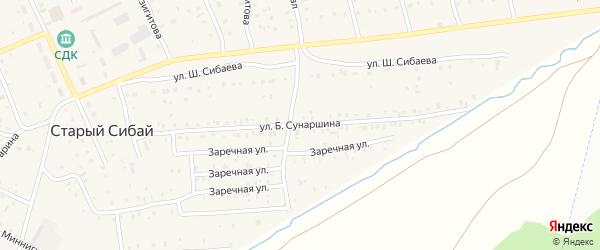 Улица Б.Сунаршина на карте села Старого Сибая Башкортостана с номерами домов