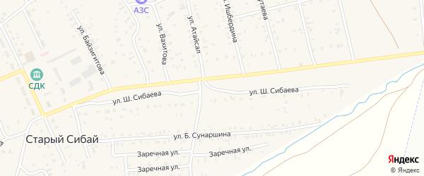 Улица Ш.Сибаева на карте села Старого Сибая с номерами домов