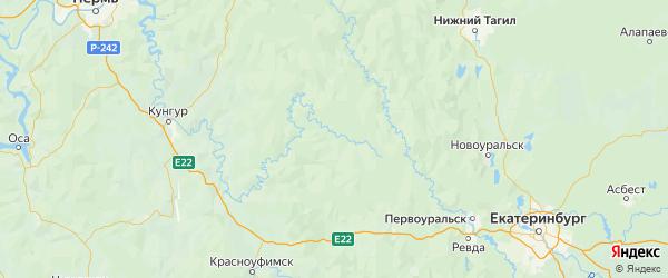 Карта Шалинского района Свердловской области с городами и населенными пунктами