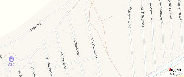 Улица П.Надькина на карте села Старого Сибая Башкортостана с номерами домов