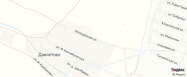 Молодежная улица на карте деревни Давлетово Башкортостана с номерами домов