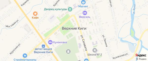 Улица 70 лет Победы на карте села Верхние Киги с номерами домов