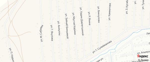 Улица М.Карима на карте села Старого Сибая Башкортостана с номерами домов