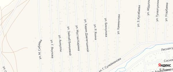 Улица Х.Давлетшиной на карте села Старого Сибая Башкортостана с номерами домов