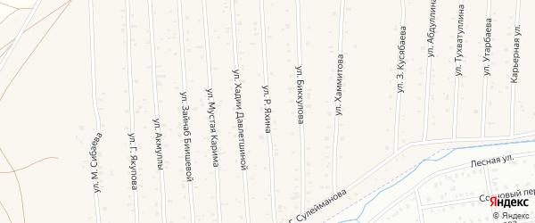 Улица Р.Яхина на карте села Старого Сибая Башкортостана с номерами домов