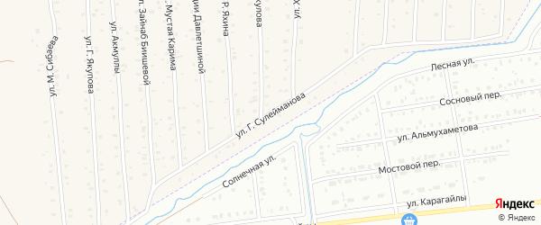 Улица Г.Сулейманова на карте села Старого Сибая Башкортостана с номерами домов