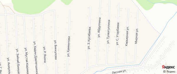 Улица З.Кусябаева на карте села Старого Сибая Башкортостана с номерами домов