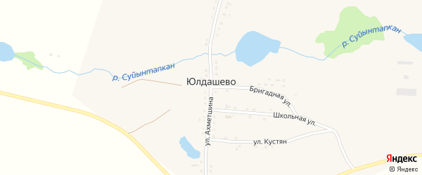 Улица Ишбулды Ахметшина на карте деревни Юлдашево с номерами домов