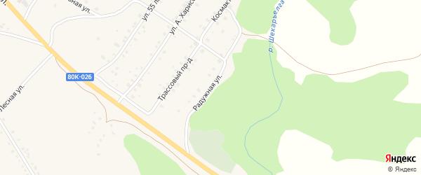 Радужная улица на карте села Абзаково с номерами домов