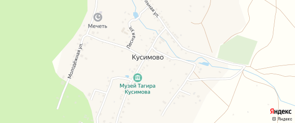 Улица Зайнаб Биишевой на карте деревни Кусимово с номерами домов