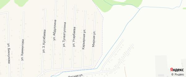 Мирная улица на карте села Старого Сибая Башкортостана с номерами домов