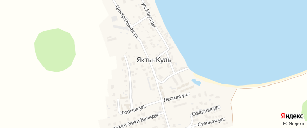 Санаторная улица на карте деревни Якты-Куль Башкортостана с номерами домов