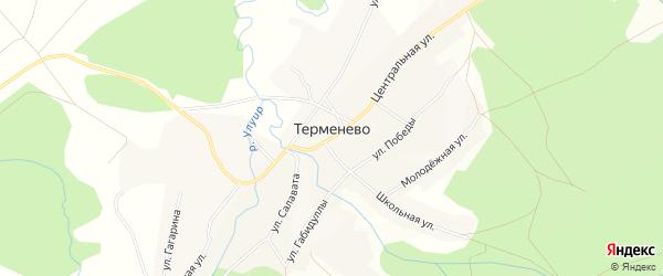 Карта села Терменево в Башкортостане с улицами и номерами домов