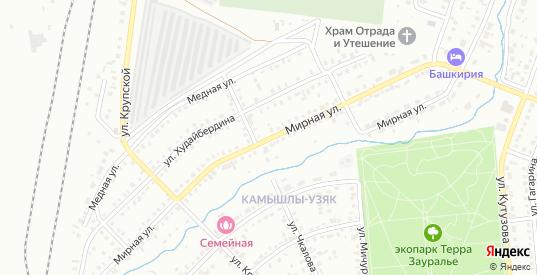 Мирная улица в Сибае с номерами домов на карте. Спутник и схема онлайн