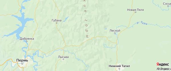 Карта Горнозаводского района Пермского края с городами и населенными пунктами
