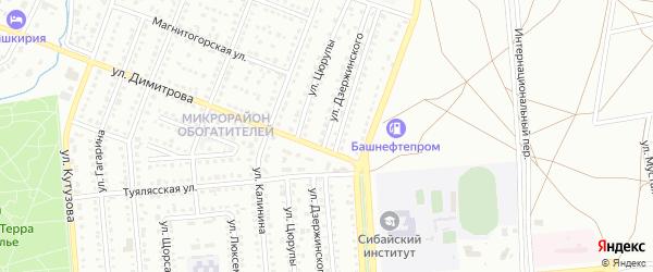 Улица Дзержинского на карте Сибая с номерами домов
