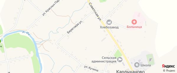 Луговой переулок на карте села Карлыханово с номерами домов
