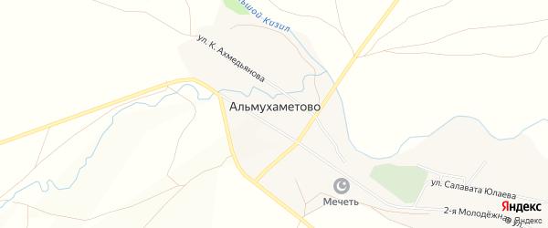 Карта деревни Альмухаметово в Башкортостане с улицами и номерами домов