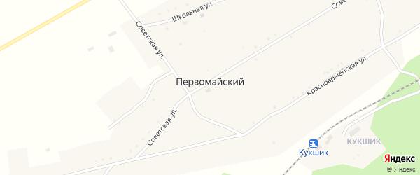 Нагорная улица на карте села Первомайского Башкортостана с номерами домов