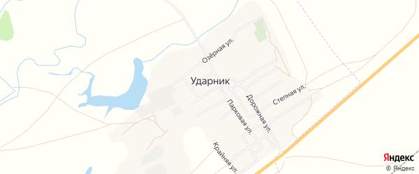 Карта села Ударника города Орска в Оренбургской области с улицами и номерами домов