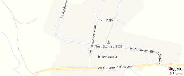 Улица Тагира Кусимова на карте деревни Еникеево Башкортостана с номерами домов