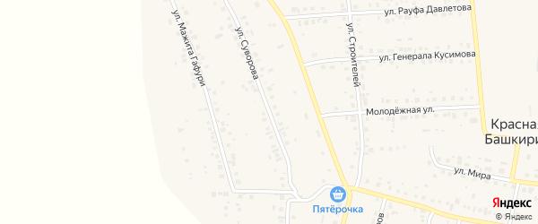 Улица Ивана Суворова на карте села Красной Башкирии Башкортостана с номерами домов