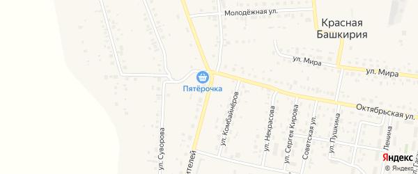 Улица Строителей на карте села Красной Башкирии Башкортостана с номерами домов