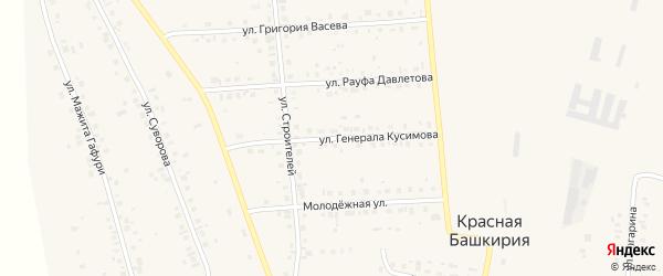Улица Тагира Кусимова на карте села Красной Башкирии Башкортостана с номерами домов