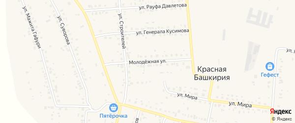 Молодежная улица на карте села Красной Башкирии Башкортостана с номерами домов