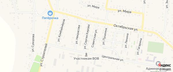 Улица Кирова на карте села Красной Башкирии Башкортостана с номерами домов