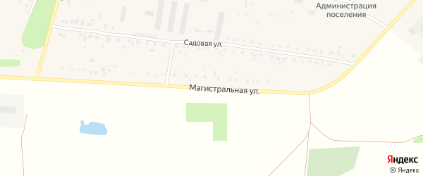 Магистральная улица на карте села Красной Башкирии Башкортостана с номерами домов
