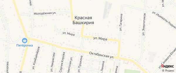 Улица Мира на карте села Красной Башкирии Башкортостана с номерами домов
