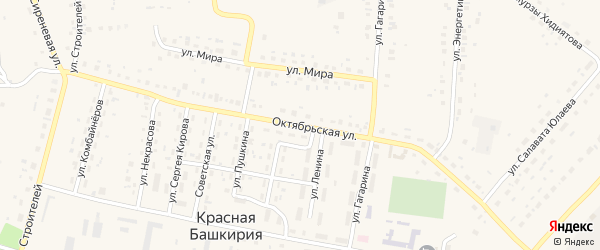 Октябрьская улица на карте села Красной Башкирии Башкортостана с номерами домов