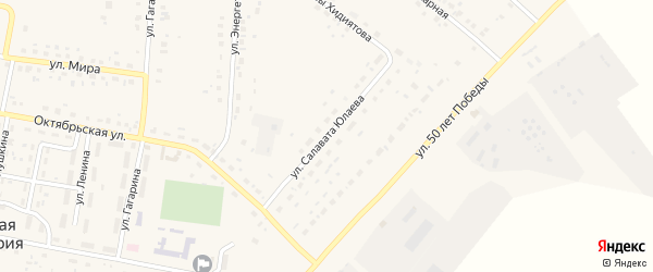 Улица Салавата Юлаева на карте села Красной Башкирии Башкортостана с номерами домов