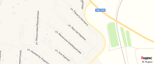 Улица Мустая Карима на карте села Красной Башкирии Башкортостана с номерами домов