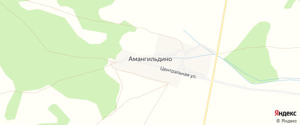 Территория Тирак 3 на карте деревни Амангильдино Башкортостана с номерами домов