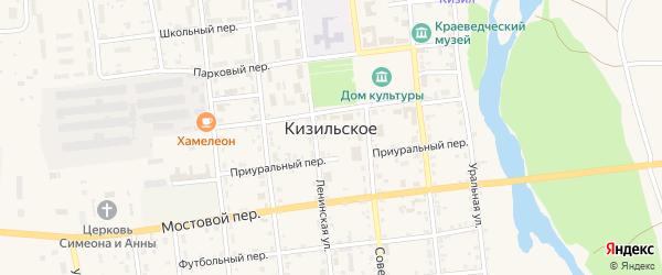 Мельничная улица на карте Кизильского села Челябинской области с номерами домов