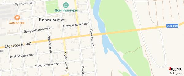 Уральная улица на карте Кизильского села Челябинской области с номерами домов