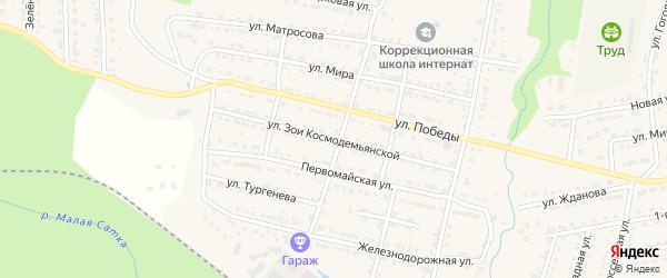 Улица Зои Космодемьянской на карте Сатки с номерами домов