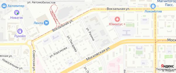 Улица Разина на карте Магнитогорска с номерами домов