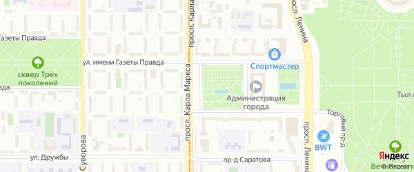 Территория ГСК Южный на карте Магнитогорска с номерами домов