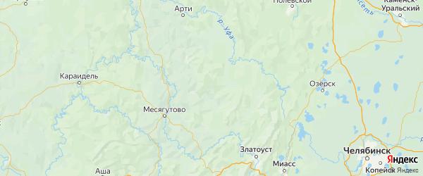 Карта Белокатайского района Республики Башкортостана с городами и населенными пунктами