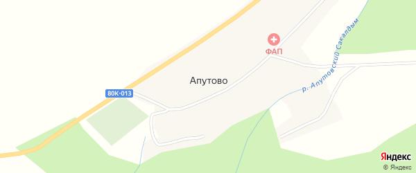 Заречная улица на карте села Апутово Башкортостана с номерами домов