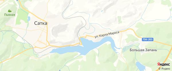 Карта Сатки с районами, улицами и номерами домов