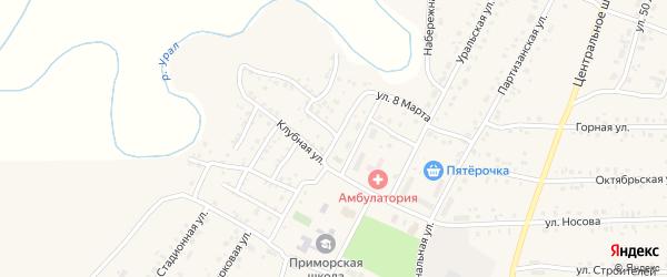 Улица 8 Марта на карте железнодорожной станции Субутака с номерами домов