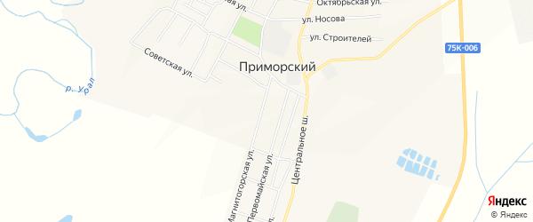 Карта Приморского поселка в Челябинской области с улицами и номерами домов