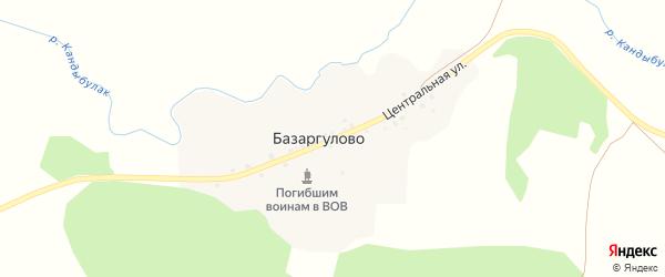 Центральная улица на карте деревни Базаргулово с номерами домов