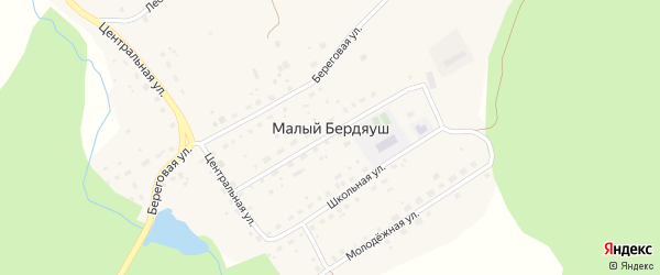 Улица Калинина на карте поселка Бердяуш с номерами домов
