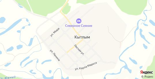 Карта поселка Кытлым в Карпинске с улицами, домами и почтовыми отделениями со спутника онлайн